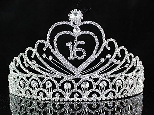 Janefashions Sweet Sixteen 16 Years Old 16th Birthday Party Clear White Austrian Rhinestone Crystal Metal Tiara Crown With Hair Combs Princess Silver T1629