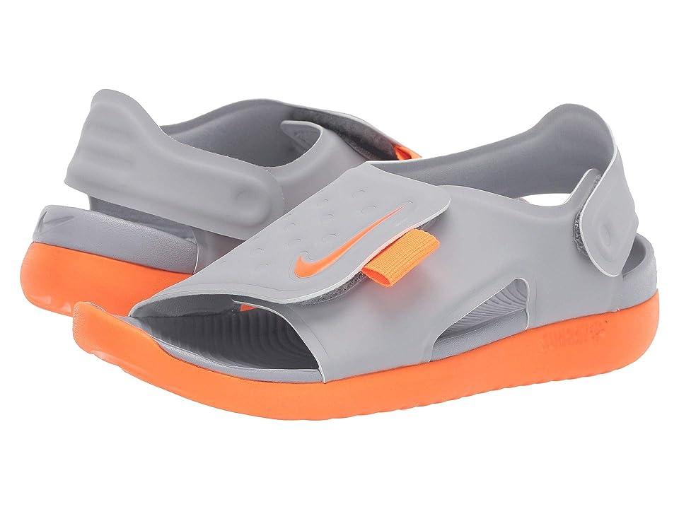 Nike Kids Sunray Adjust 5 (Little Kid/Big Kid) (Wolf Grey/Total Orange) Boys Shoes