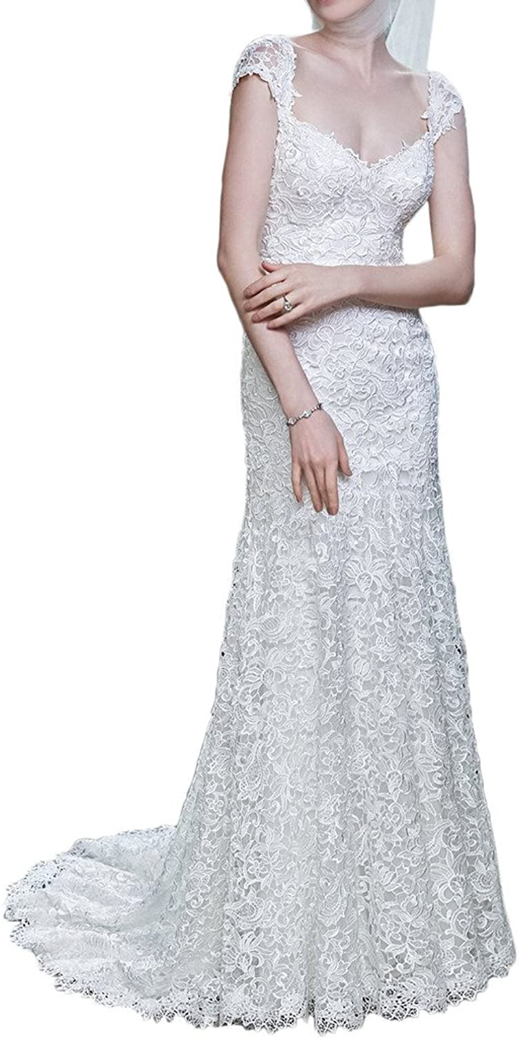 Avril Dress Sheath Portrait Satin Lace Wedding Dress Backless With Long Train