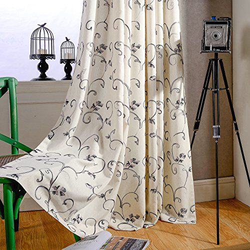 2 Panels Ultra Sleep Vines Embroidered Curtains 84 inches Long, Window Curtain Panels for Living Room & Bedroom, 52 x 84 Inch, Grey, 2 Panels