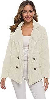 Dawwoti Women's Plsuh Lapel Coat Solid Color Fuzzy Casual Top