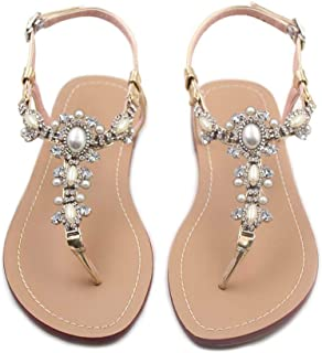 b86a84634ba95 azmodo Flat Sandals with Rhinestones for Women Flip Flop Wedding Gladiator  Shoes Gold Color