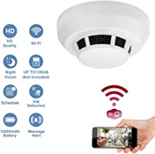 Wi-Fi 1080P Hidden Smoke Detector Camera Night Vision Motion Detection Wireless IP Camera Security Wall Mount Nanny Cam Home Camera Remote Control Android iOS Free App PC View
