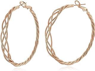 3 Pairs Big Hoop Earrings Set for Women Sterling Silver Post 14K Gold White Gold Rose Gold Plated Big Hoop Earrings Twiste...