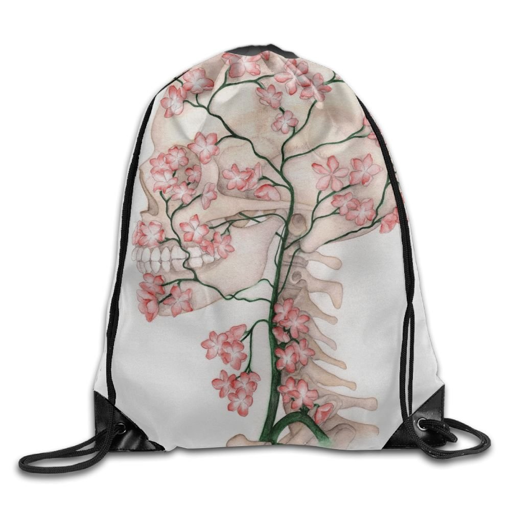Backpack for Woman Pink Woman Backpack Flower Skull Drawstring Backpack