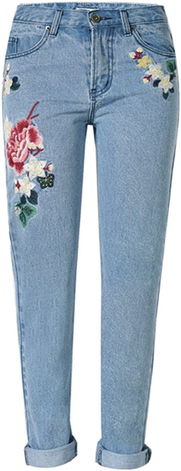 A POCKET OF SUNSHINE Vintage flower embroidered high waist bluee pencil slim denim pants
