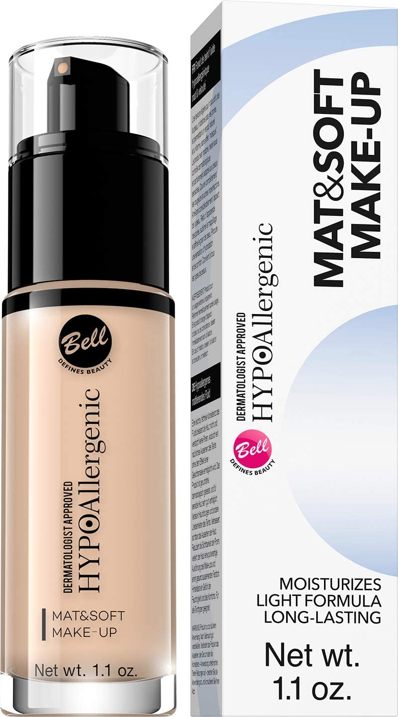 Bell - Mat & Soft Maquillaje hipoalergénico matificante y suave (30 g), color 02 natural, 30 g