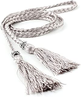 SGJFZD Summer New Fashionable Version of The Waist Rope Hand-Woven Ethnic Wind Thin Rope Dress Knotted Decorative Waist Chain Female (Color : Grey)