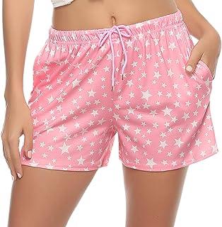Hawiton Pantalones de Pijama Mujer Cortos Verano de Algodón Elástico Ropa de Dormir Volantes, Suave y Cómodo