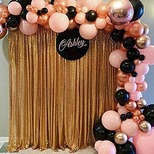 ShiDianYi 20 Ft X 10 Ft Gold Sequins Backdrop Curtain