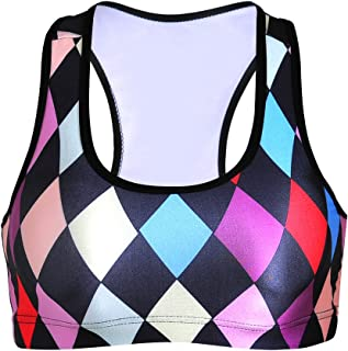 Sister Amy Women's Aerobics Gym Dance Yoga Vest Printed Sports Bra Top Vest