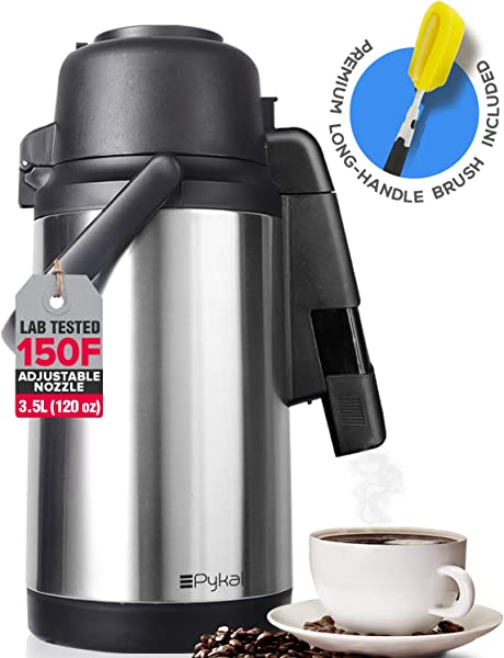 SplashProof Coffee Carafe Airpot Dispenser With Adjustable Nozzle 120 Oz Capacity Lab Tested 24 Hour 150F Heat Retention Premium Grade Rust Resistant Double Wall Stainless Steel By Pykal