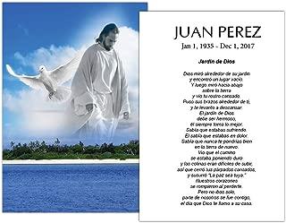 Tarjetas Funerales De Recordatorio (50 Cards) FPC1227ES Bajo la vista de Dios (Impreso personalizado - Seleccione oración deseada)