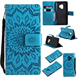 SMYTU Galalxy S9 Wallet Case, Premium Emboss Sunflower Flip Wallet Shell PU Leather Magnetic Cover Skin with Wrist Strap Case for Samsung Galaxy S9 5.8'(S-Blue)
