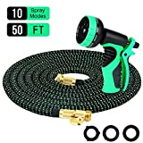 9. Powsure 50ft Garden Hose-Flexible and Expandable Water Hose,Double Latex Core, 3/4 Solid Brass Fittings, Extra Strength Fabric, No-Kink Expanding Hose with Metal 10 Function Spray Nozzle