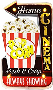 Popcorn Sign, LED Vintage Popcorn Decor Snacks Sign Wall Hanging Metal Handmade Marquee Embossed Tin Decor, Industrial Style Wall Hanging Sign for Apartment, Home, Wall Decoration(Battery Operated)