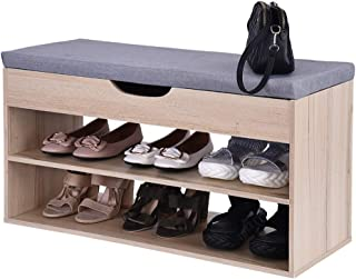 Fullyday Imported Entryway Shoe Storage Bench with Comfortable Cushion, Built-in Storage Cabinet, Ideal Modern Storage Sofa, Shipped from West Coast