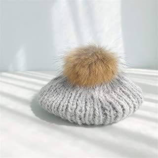 SHENTIANWEI Hat Autumn and Winter Female Raccoon Fur Ball Wool Cap Influx of Korean Fashion Simple Linen Pattern Knitted hat Female Beret (Color : Grey, Size : One Size)