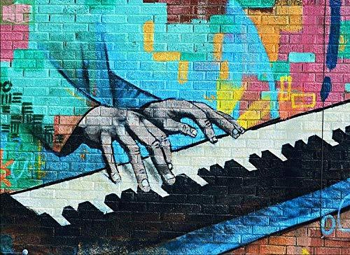 CQDSQN Fotos Kreatives spielendes Klavier der Graffiti auf grüner Backsteinmauer Wandgemälde 3D PVC Selbstklebend Wandaufkleber Tapete Kinder Junge Mädchen Karikatur Film Zuhause Schlaf(B)200x(H)150cm