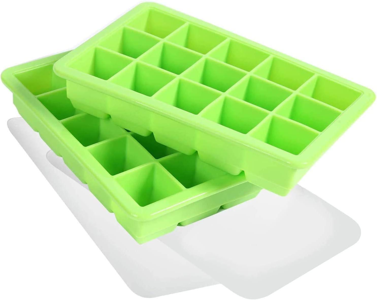LessMo 2 Piezas Bandeja Grande, Silicona para Cubitos de Hielo de con Tapa, Apilables y Que Ahorran Espacio, Certificación LFGB Sin BPA para Bebidas y Alimentos para Bebés