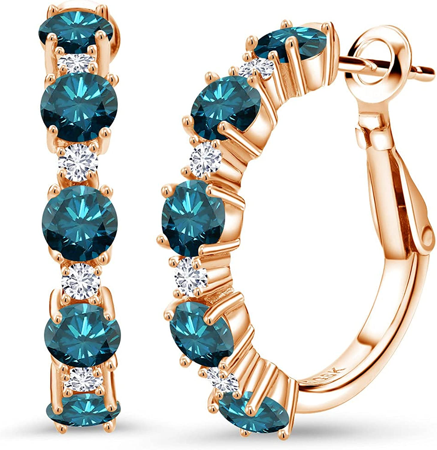 18K Rose Gold Plated Silver Ranking TOP6 Hoop Award-winning store Blue Round and Earrings Diamond