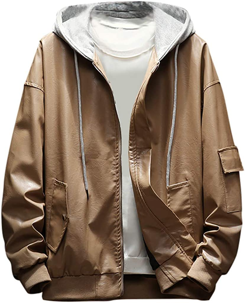 VEZAD Store Men Leather Moto Coat Casual Solid Color Hooded Fake Two-Pieces Bomber Jacket