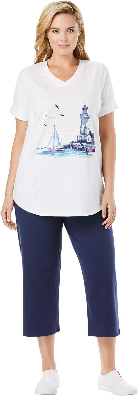 Woman Within Women's Plus Size Two-Piece V-Neck Tunic & Capri Set