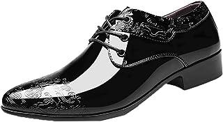 Zapatos Formales para Hombre, Zapatos de Negocios con Punta Puntiaguda de Charol, Zapatos de Vestir de Oficina con Cordone...