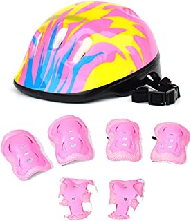 RuiyiF 7Pcs Kids Sports Safety Protective Gear Set, Elbow Pad Knee Pads Wrist Guard Helmet for Scooter Skateboard Skating Blading Cycling Riding - Pattern (Flame) Color Random