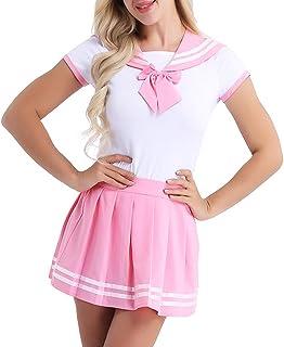 Freebily Damen Schulmädchen Kostüm Baby & Windel Liebhaber Uniform Kostüm Kurzarm Reizwäsche Strampler mit Mini Faltenrock Cosplay Dessous Set