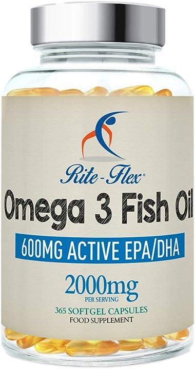 365 capsule softgel di omega 3 2000mg | integratore alimentare di 600mg epa e dha olio di pesce rite flex rf004