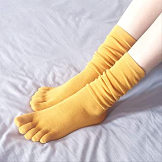 hgtyred, Calcetines de cinco dedos a la moda salvajes en otoño e invierno con tacones gruesos y calcetines altos hasta la rodilla, 3 pares
