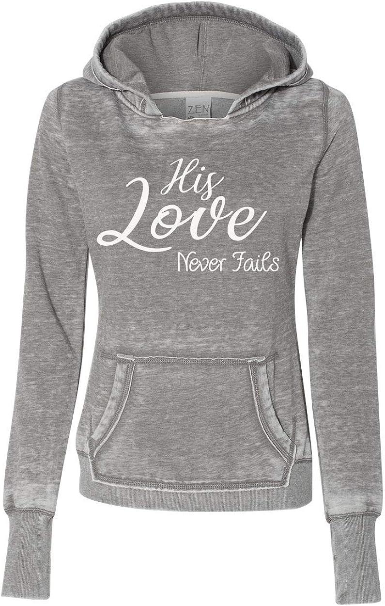 TSC His Love Never Fails Pullover Fleece Industry No. 1 Hoodie-Cemen Long Beach Mall Ladies Zen