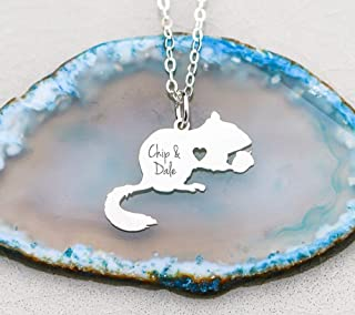 Chipmunk Necklace Rodent Jewelry - IBD - Cute Animal Girls Necklace Acorn Autumn Birthday Gift - Personalize Name - 935 Sterling Silver 14K Rose Gold Filled Charm