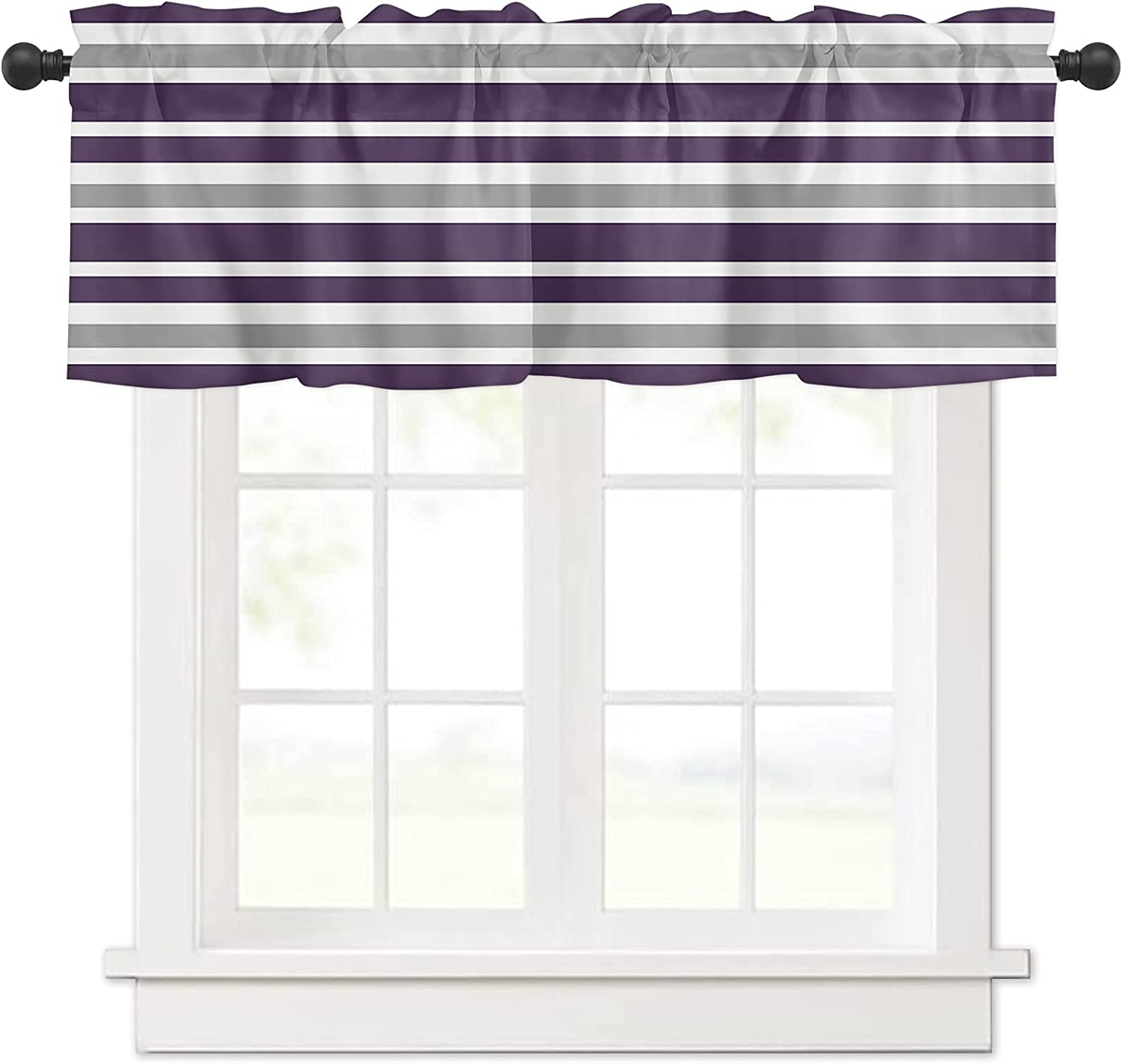 Nautical Stripe Lines Purple and Curtain Sales results No. 1 Valances Grey White for Topics on TV
