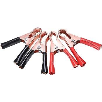 4PCS Rouge Noir Voiture Pinces Crocodile Batterie Pinces Crocodile Clip 50 A 80 mm