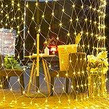 LED Lichternetz,Lichterkette Netz mit Fernbedienung & 8 Modi, Lichterkettennetz für Partydekoration Wohnzimmer Kinderzimmer (Warmweiß, 1.5*1.5m 120 LEDs)