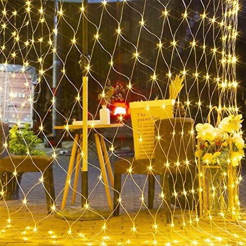 LED Lichternetz,Lichterkette Netz mit Fernbedienung & 8 Modi, Lichterkettennetz für Partydekoration Wohnzimmer Kinderzimmer (Warmweiß, 1.5*1.5m...