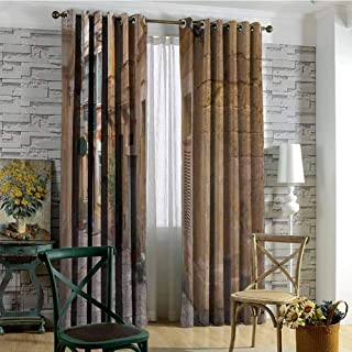 Travel 100% blackout lining curtain Old Narrow Street European Town in Vittoriosa Malta Historical Architecture Country Full shading treatment kitchen insulation curtain W72 x L96 Inch Sand Brown