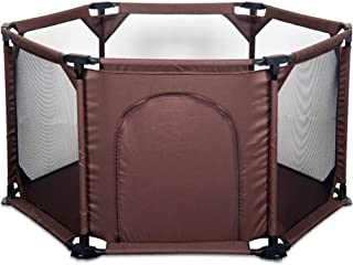 LHR888 Children s Game Playpen Safe Play Fence Indoor Child Protection Fence Indoor Playground Kid s Play Area Color BROWN Size 134X134X70CM