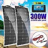 LAMP-XUE 300 Watt 18 Volt Panneaux solaires Souples Kit Panneau Solaire Flexible 2Pcs 150W + contrôleur de Charge Solaire LCD + 16ft Câble Solaire avec connecteurs,30a Controller