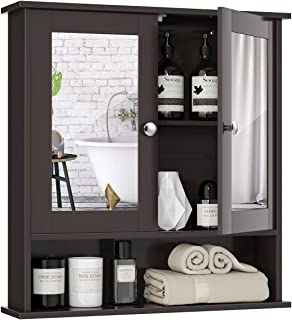 Tangkula Bathroom Cabinet Wall Mounted with Double Mirror Doors, Wood Hanging Cabinet with Doors and Shelves, Bathroom Wal...