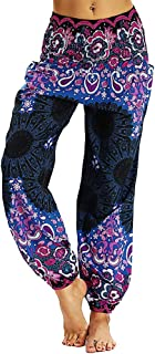 TOPUNDER Harem Trousers Men Women Boho Festival Hippy Smock High Waist Yoga Pants