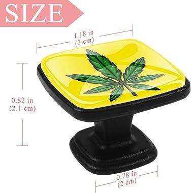 Square Cabinet Knobs Marijuana Pot Weed Leaf Kitchen Pulls Cabinet Hardware Cupboard Drawer Knobs,Pack of 4