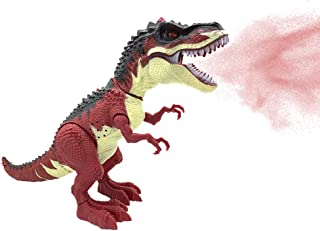 SEOINS T-Rex Walking Dinosaur Toy with Spray Water Mist,Realistic Roar and Ligh,Dinosaur Toy for Kids(Red)
