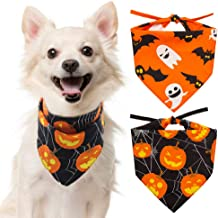SCENEREAL Halloween Dog Bandana 2 Pack - Triangle Bibs Scarf Pumpkin Ghost Holiday Accessories for Dogs Puppy Cats