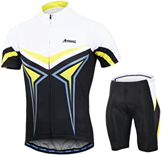 AUmansomer Men's Compression Cycling Biking Jersey Short Sleeve T-Shirt Shorts Bicycle Slim Fit Suits Stretch Tops Breathable Quick Dry Tights Bottoms Sportswear Sets