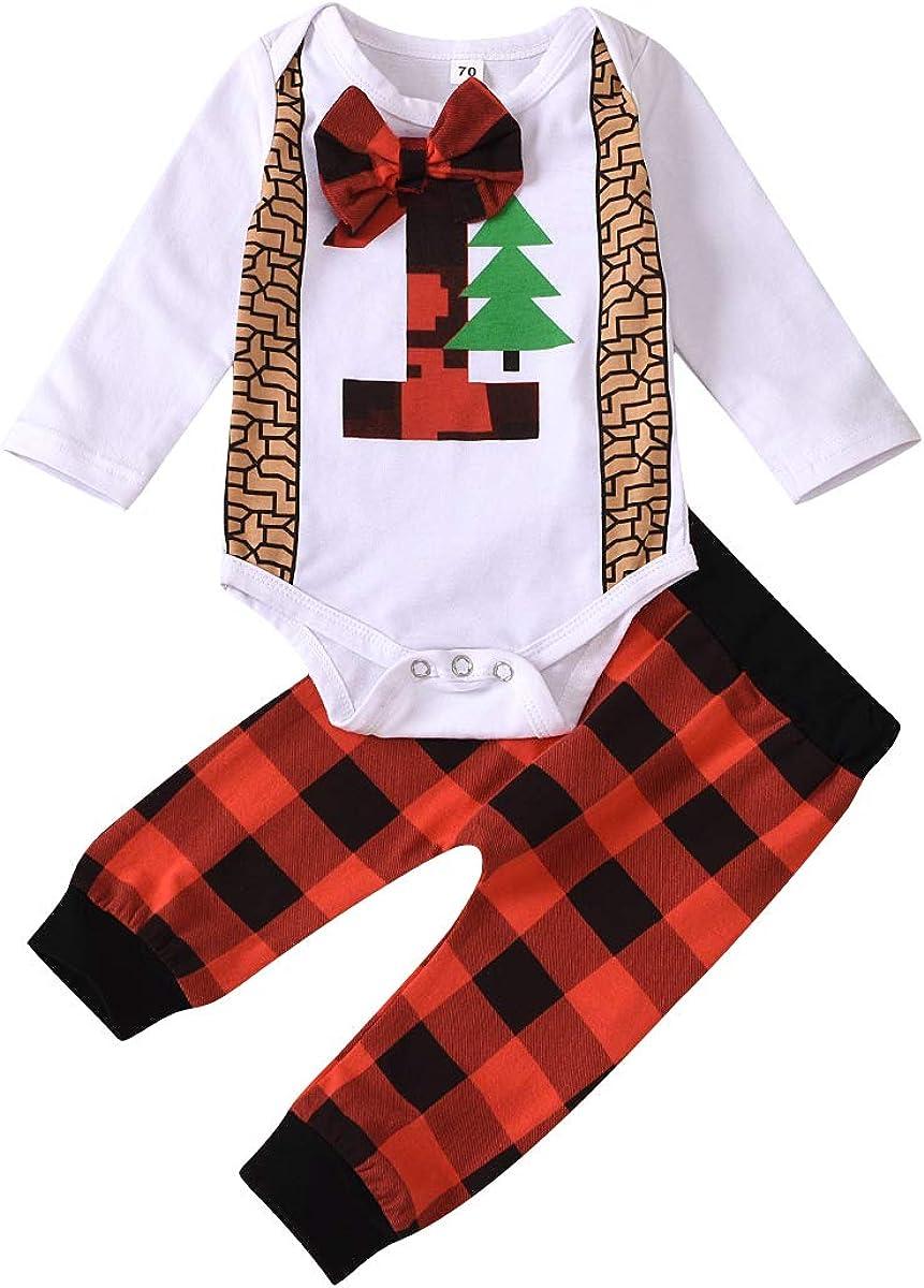 Baby Boy Christmas Outfit My 1st Christmas Romper+Xmas Plaid Pants+Hat 3Pcs Clothes Set