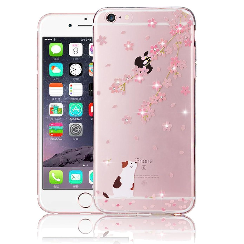 ソロ代わりの広いシリコン iPhone XS 5.8インチ、SevenPanda iPhone X/iPhone Xsの透明ケースクリスタル光沢ペイント透明ケースカバー薄いパターンソフトケース携帯電話保護バッグシェルバンパー - フラワー/キャット