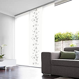 comprar comparacion MADECOstore Panel japonés de Efecto Velo, Blanco con Motivos Florales, 45 x 260 cm (Ancho x Alto)